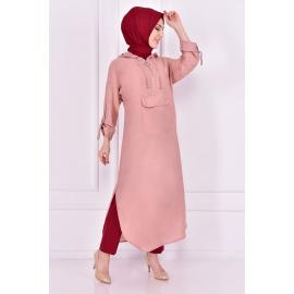 Light pink tunic with cape