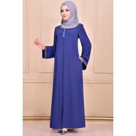 A navy blue abaya decorated with patterned fabric