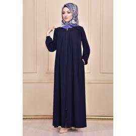 A navy abaya with pleated details in the fabric