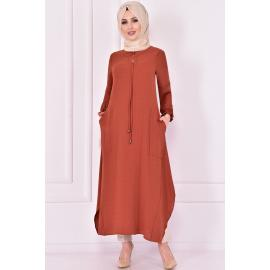 Brick red tunic with two pockets