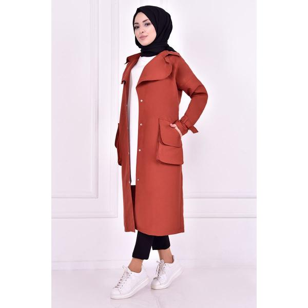 A red brick coat with button detailing