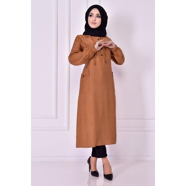 brown Tunic with  buttons