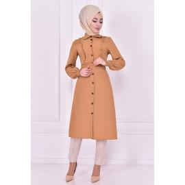 Beige tunic with a belt