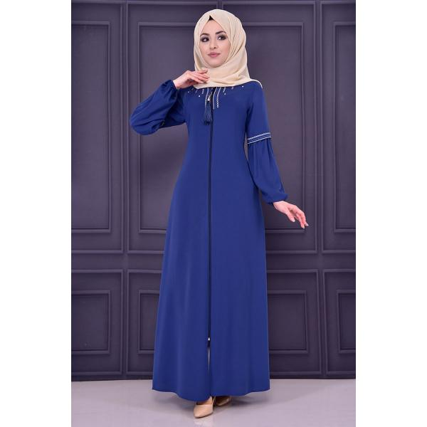 A navy blue abaya with embroidered details