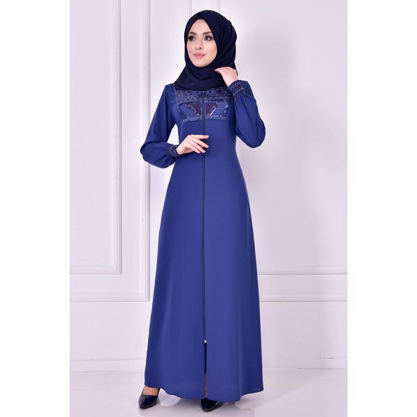 A navy blue abaya with glitter details on the fabric
