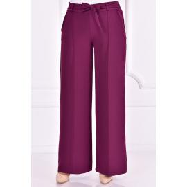 Purple pants with tied belt