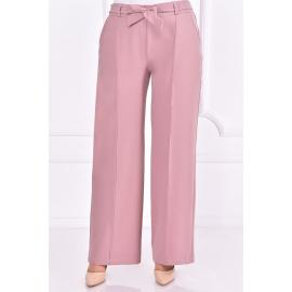 Pink pants with tied belt
