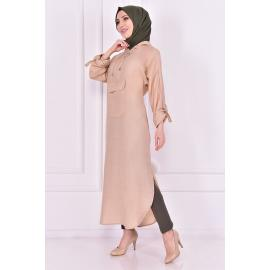beige tunic with cape