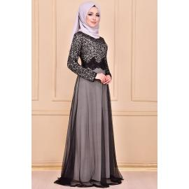 Silver evening dress decorated with sparkles