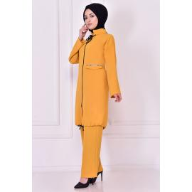 Set yellow mustard two pieces with a zipper