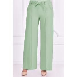 Turquoise green pants with a tied  belt