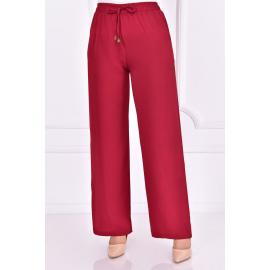 Bordeaux red pants with an elastic belt