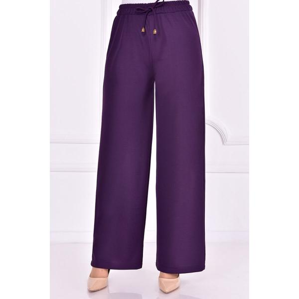 Purple pants with an elasticated belt