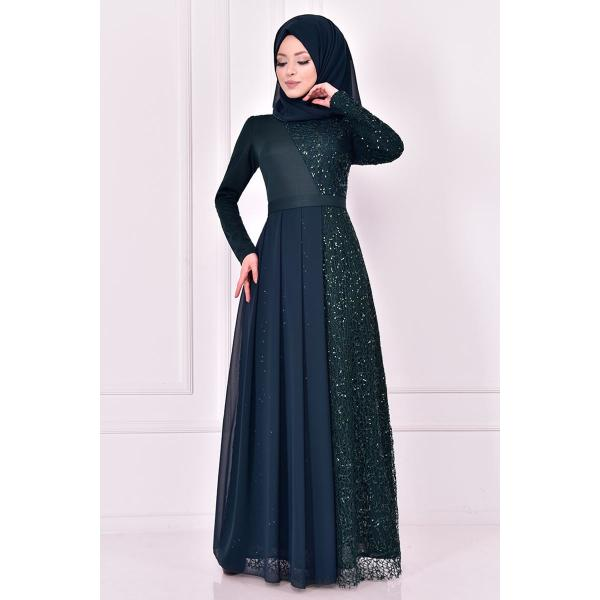 An oil green evening dress with lace details