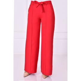 Red pants with an attached belt