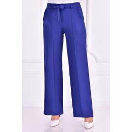 Indigo blue pants with a tied belt