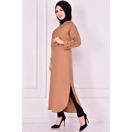 Mink tunic (one of the shades of beige) with capes