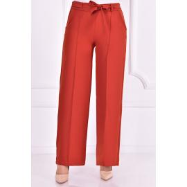 Red brick pants with a belt