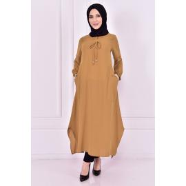Mink tunic with two pockets (a beige variation)