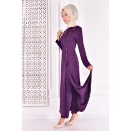 Set of Two-piece with buttons -purple