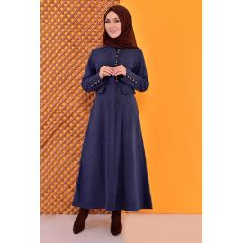 Buttoned Coat -indigo color