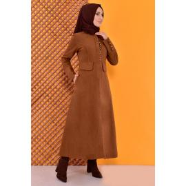 Buttoned Coat -rust color