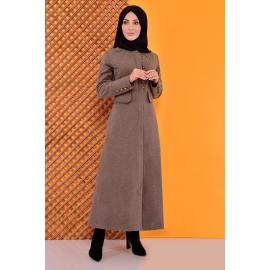 Buttoned Coat -mink color
