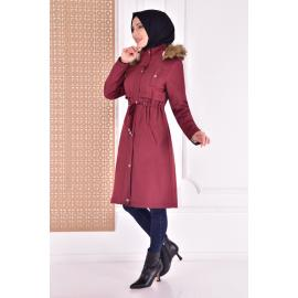coat with cape - maroon