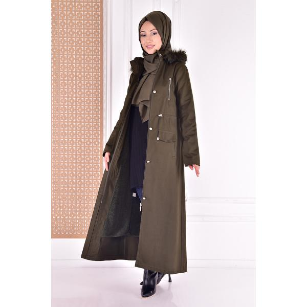 Coat with a cape - khaki color