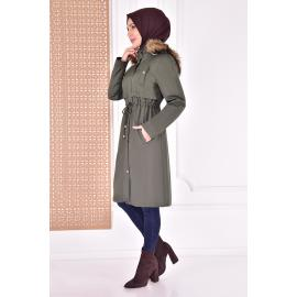 coat with cape - khaki color