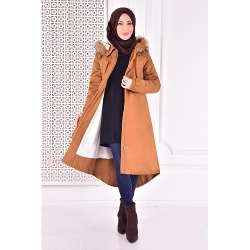 Coat with cape - mustard color