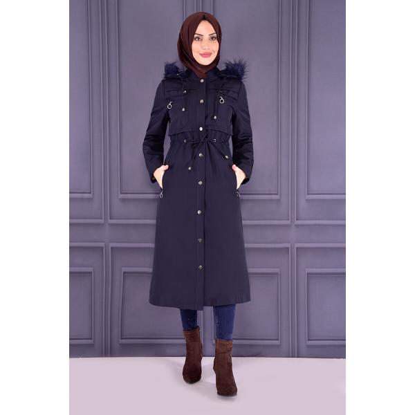 Coat with cape - dark blue
