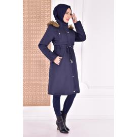 coat with cape - navy blue