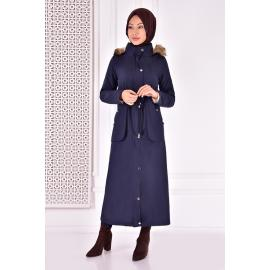 Coat with cape - dark blue.