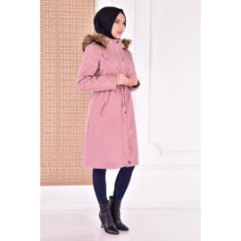 coat with cape - light pink