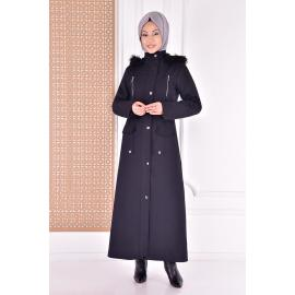 Coat with a cape - black