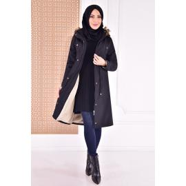 coat with cape - black