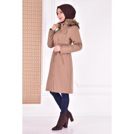 coat with cape - mink color