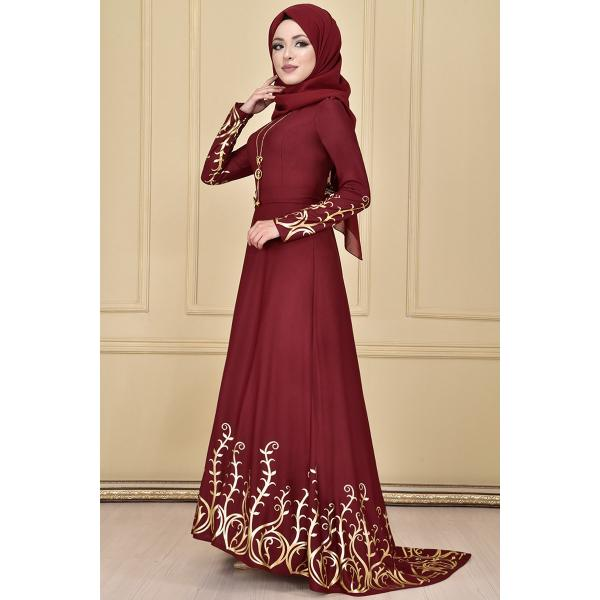 Evening dress ,embroidered in gold, Maroon color