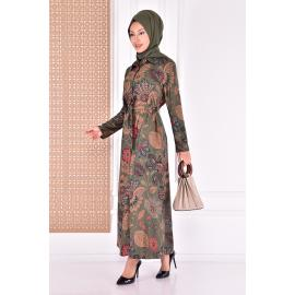 Dress with belt - khaki color