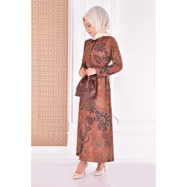 Dress with belt - brown