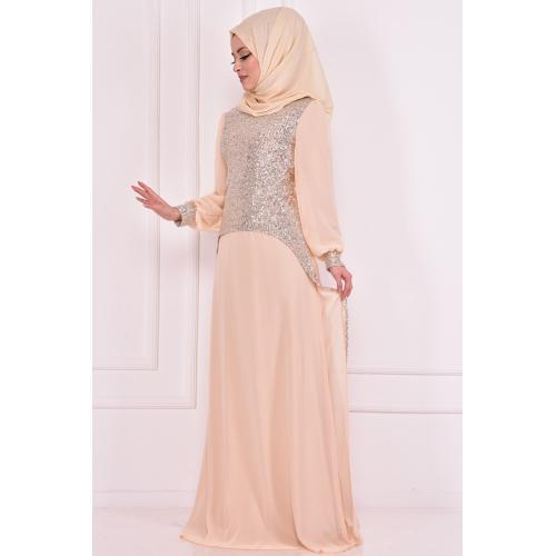 Evening dress decorated with sparkles, tan color