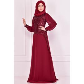 Evening dress decorated with sparkles, Maroon color