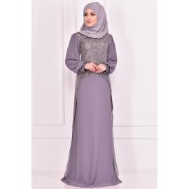Evening dress decorated with sparkles, Grey color