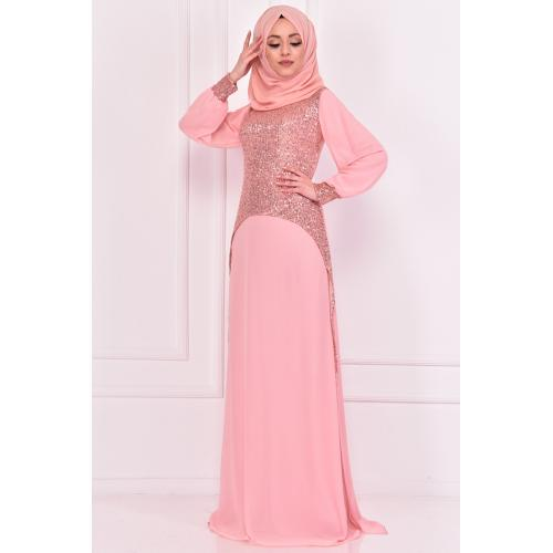 Evening dress decorated with sparkles, Light pink color