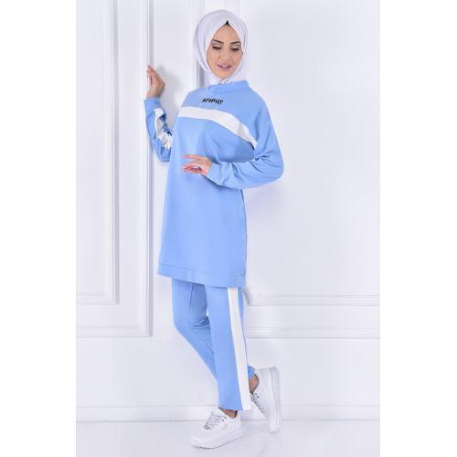 striped set of (two pieces)  - sky blue