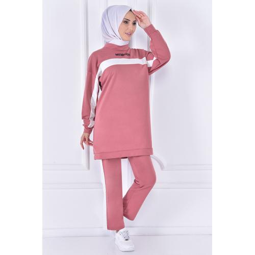 striped set of (two pieces)  - pink