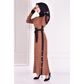 knitwear dress - brown