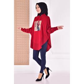 knitwear coat - red
