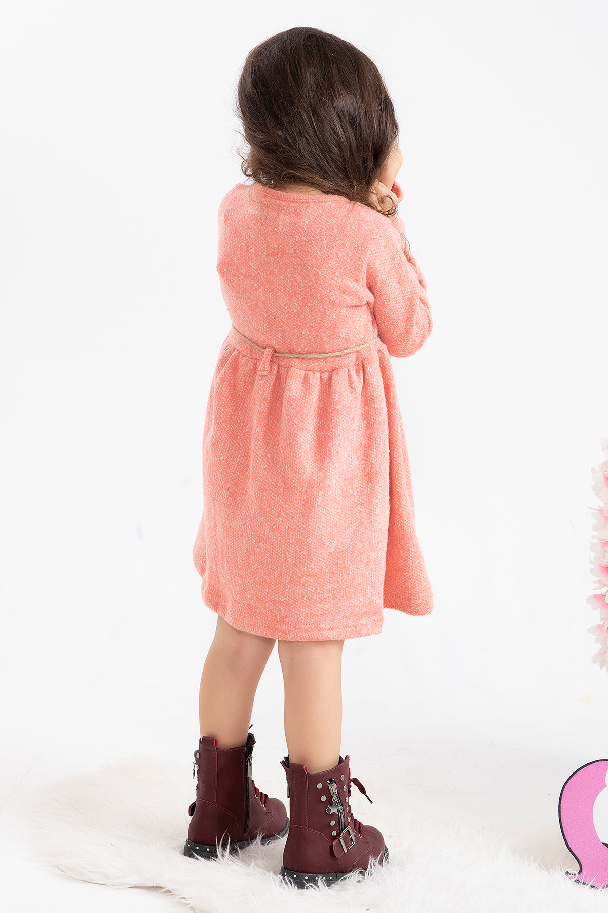 Girl's Dress with Belt (Embroidered) -dark pink